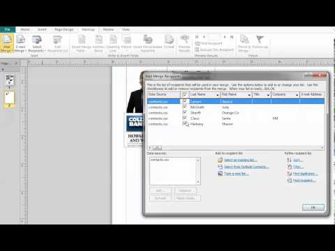 mail merge in publisher 2010