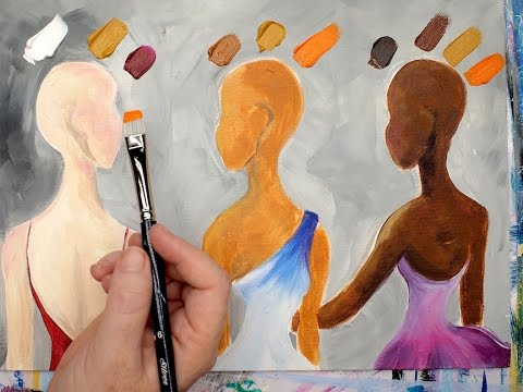 EASY method how to Mix 3 Skin tones in acrylic painting Quick Quest
