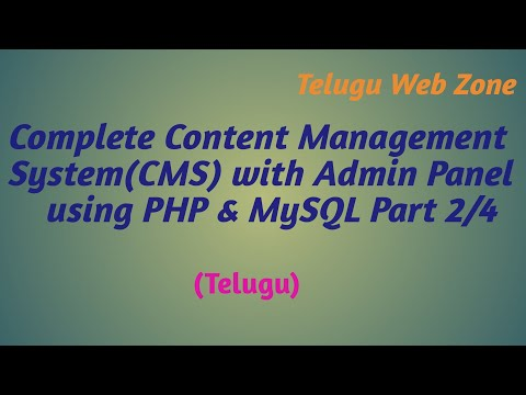 Complete Content Management System (CMS)  Website with Admin Panel using php & mysql in telugu -2/4
