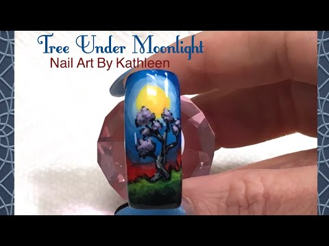 Freehand Nail Art Of A Tree Under The Moonlight