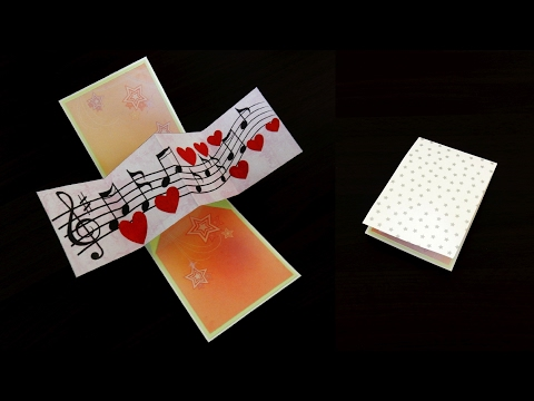 Twist and pop music card - pop up card by template - EzyCraft