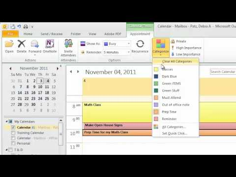 Using Colors in the Outlook Calendar