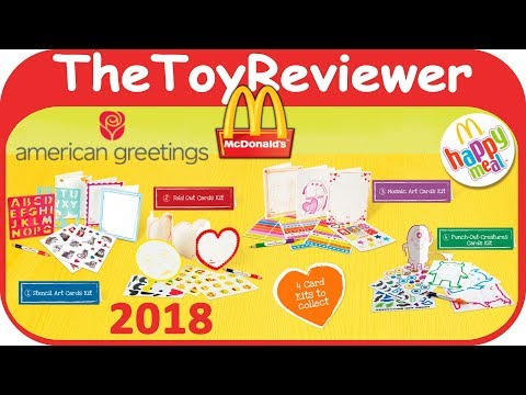 2018 American Greetings Cards Happy Meal McDonalds COMPLETE SET 4 Unboxing Toy Review TheToyReviewer