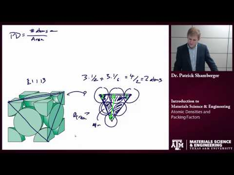 Atomic densities and Packing Factors {Texas A&M: Intro to Materials}