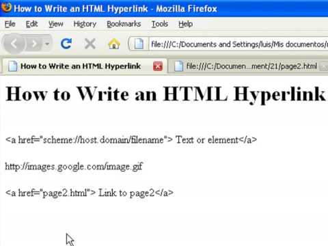 How to Create Web Pages Using HTML : How to Write an HTML Hyperlink