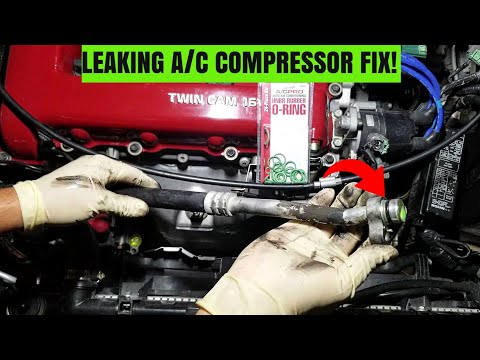 How To Replace A Leaking A/C Line O-ring!   Infiniti G20 Leaking A/C Compressor Fix!