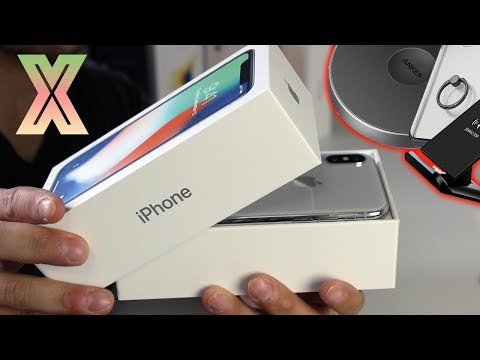 iPhone X Unboxing Silver - First Boot, New Features, Wireless Charging & Accessories