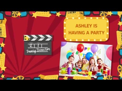 At the movies -Kids Party Invitation