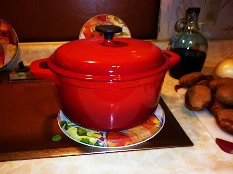 Tramontina 5.5 qt Enameled Cast Iron Dutch Oven Cooks a Roast Beef