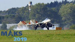 Супер короткая посадка Су-57! Авиасалон