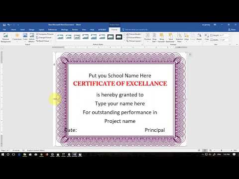 Make Certificate in MS Word