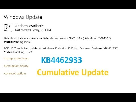 Cumulative Update for Windows 10 Version 1803 for x64 based Systems (KB4462933)