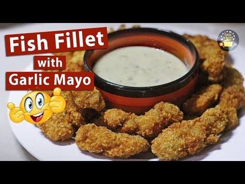 Crunchy Breaded Fish Fillet with Garlic Mayo Dipping Sauce