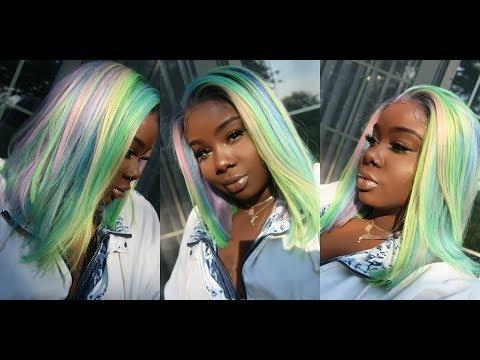 ♡ Pastel Rainbow D.I.Y Hair Color 🍭+ Easy Blunt Cut