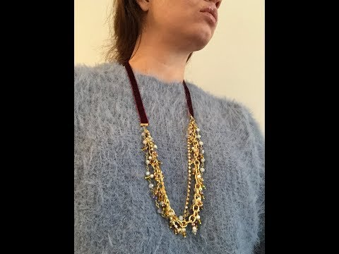 Long Velvet Ribbon Necklace- Beads, Rhinestone Chain and Chains- jewelry