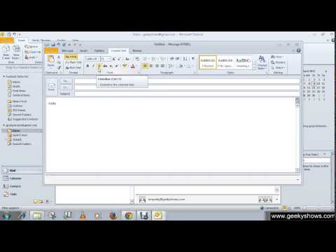 Microsoft Outlook 2010 Change Appearance of the E mail