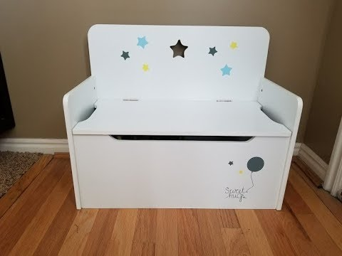Timy Wooden Kids Storage Bench Toy Chest White