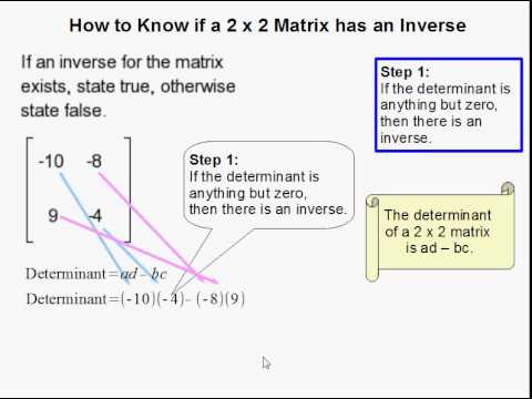 How to Determine if a 2 x 2 Matrix has an Inverse