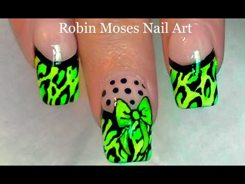 Neon Leopard French Tip Nails | Diva Nail Art Design Tutorial