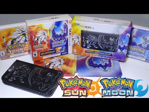 Unboxing Pokemon Sun & Moon SteelBook Set AND Solgaleo Lunala Black Edition New Nintendo 3DS  XL