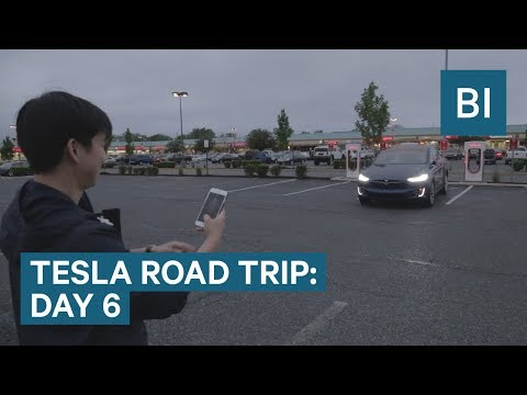 The car drives to us on DAY 6 OF THE TESLA ROAD TRIP