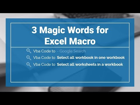 3 Magic Words for Excel Macro | Vba Code to - Google Search