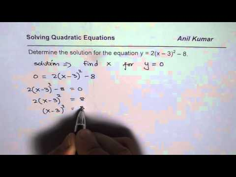 How to Find Solution of Quadratic Equation from Vertex Form