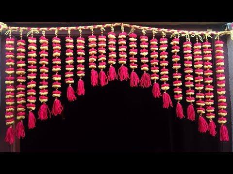 Handmade toran, Door Hanging Toran From Woolen Very Easy, How to Make Wool FlowerToran