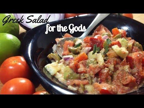 Greek Salad for the Gods (Free of Oil, Sugar, Gluten, Dairy) - Greek Salad in Goddess Dressing