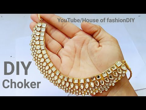 How To Make Designer Kundan Choker At Home||Latest Jewellery||Party ware Necklace..!