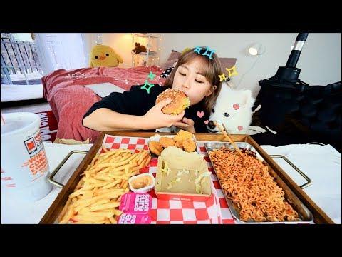 Weird combination... BigMac & Mala Fire Noodles Mukbang! | KEEMI★