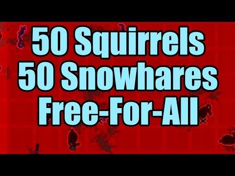 50 Squirrels vs 50 Snowhares - FFA (RimWorld Duel)