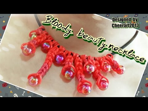 Loom bands 'Bloody beauty' necklace with beads rainbow loom tutorial彩虹橡筋項鏈教學