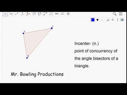 How construct the incenter of a triangle using Geogebra