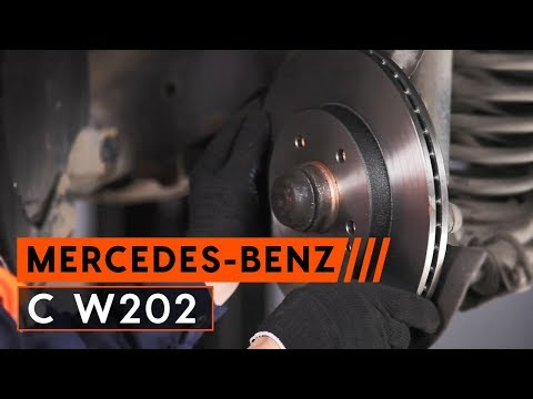 How to replace front brake discs and brake pads MERCEDES BENZ C W202  [TUTORIAL AUTODOC]
