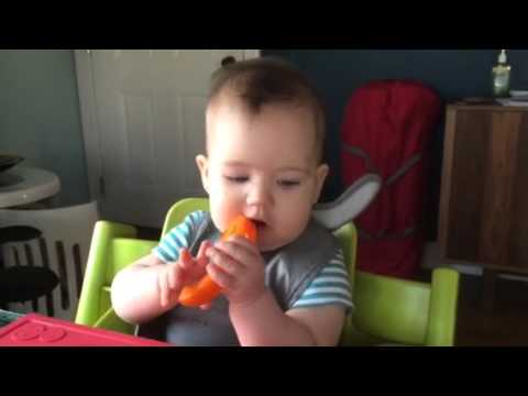 Baby led weaning - orange pepper, rice cereal, eggs