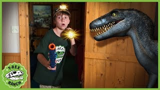 Download Dinosaurs in Haunted Cabin! Dinosaur Chase in Kids Pretend Play Ghost Adventure with Nerf Toys Video
