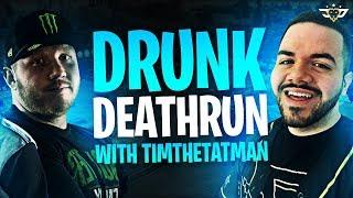 DRUNK DEATHRUN WITH TIMTHETATMAN! I LOST MY MIND! (Fortnite: Battle Royale)