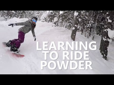 My Girlfriend Learning to Snowboard in Powder