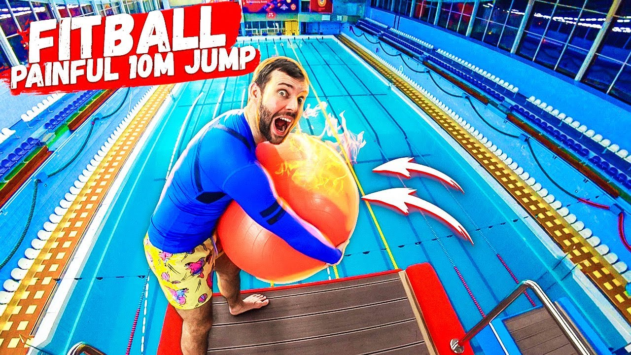 EPIC FITBALL JUMP trick challenge | Loser gets a belly flop