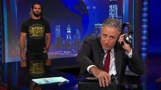 "Seth Rollins surprises Jon Stewart with a custom ""The Daily Show"" WWE World Heavyweight Championship"