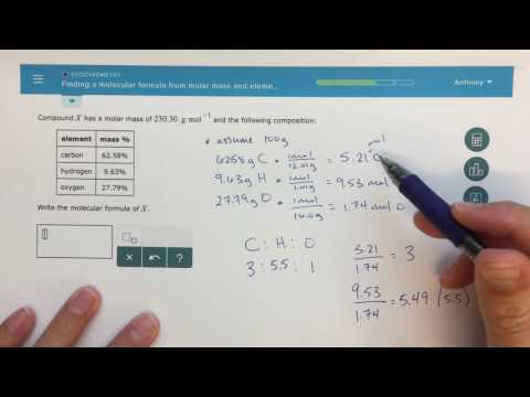 ALEKS - Finding a Molecular Formula from Molar Mass and Elemental Analysis