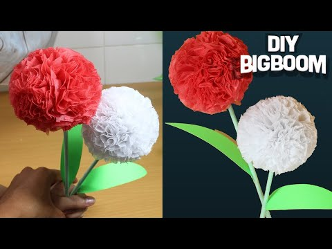 How to make flower with tissue paper step by step (Easy2018) | DBB