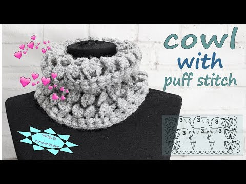 How to crochet  cowl  with puff stitch DIY Tutorial Wika crochet
