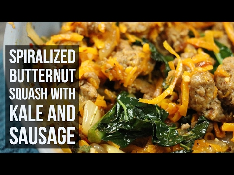 Spiralized Butternut Squash with Kale and Sausage | Healthy Dinner Recipe by Forkly
