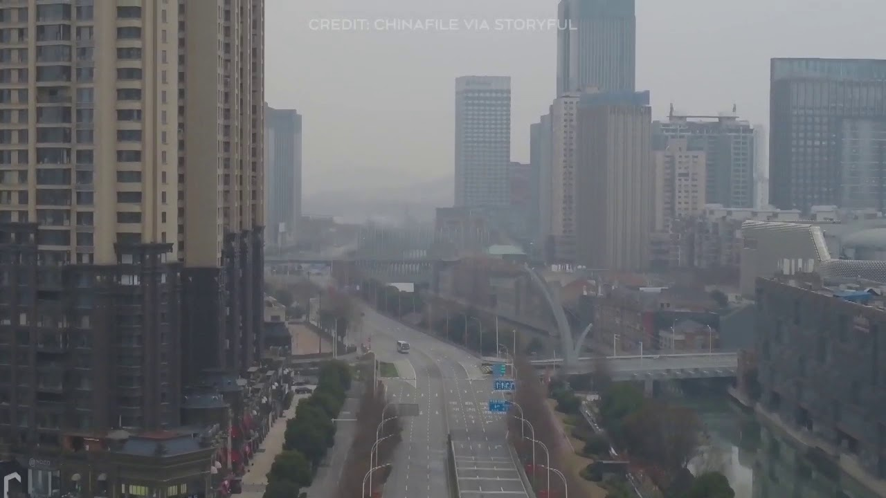Drone footage captures the eerie, deserted streets of Wuhan, China