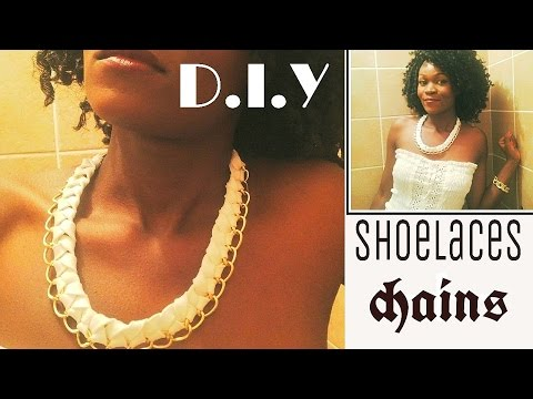 Braided/woven chain necklace using shoelaces !!:0 (D.I.Y)