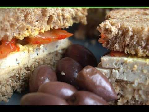 Smoked Tofu, Kimchi & Hummus Sandwich (High Protein Vegan)