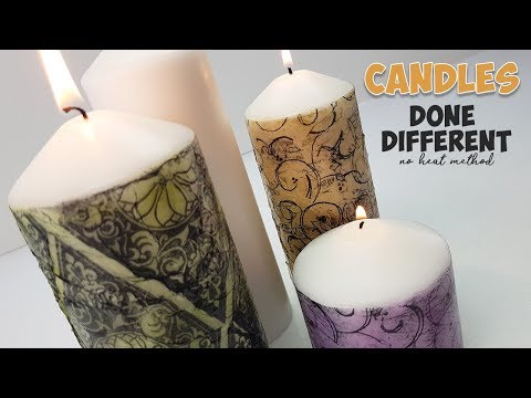 custom candles using stamps and crinkled tissue paper