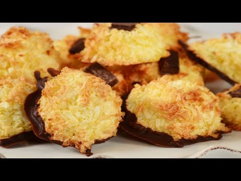 Chocolate Dipped Coconut Macaroons Recipe Demonstration - Joyofbaking.com